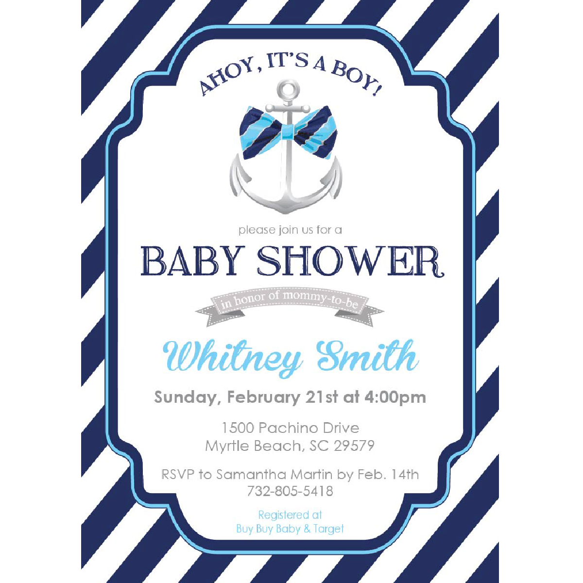 Awesome Ahoy! Itu0027s A Boy! Baby Shower Invitation