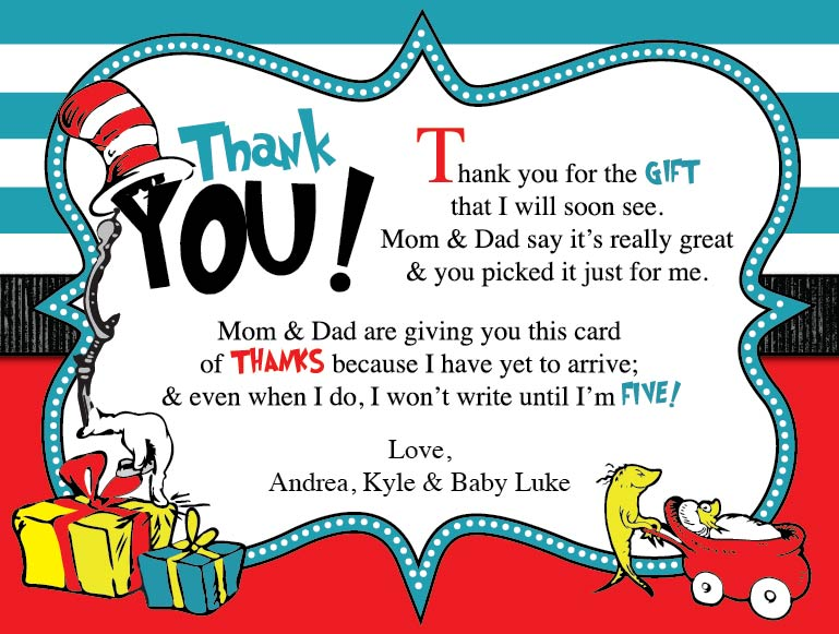Dr. Seuss Baby Shower Thank You Card – Blackline