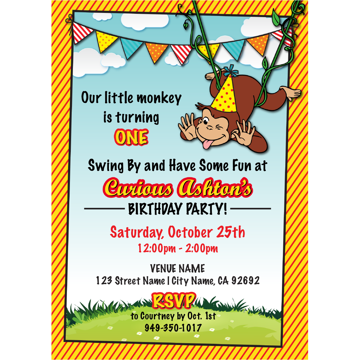 Curious George Birthday Invitations Blackline