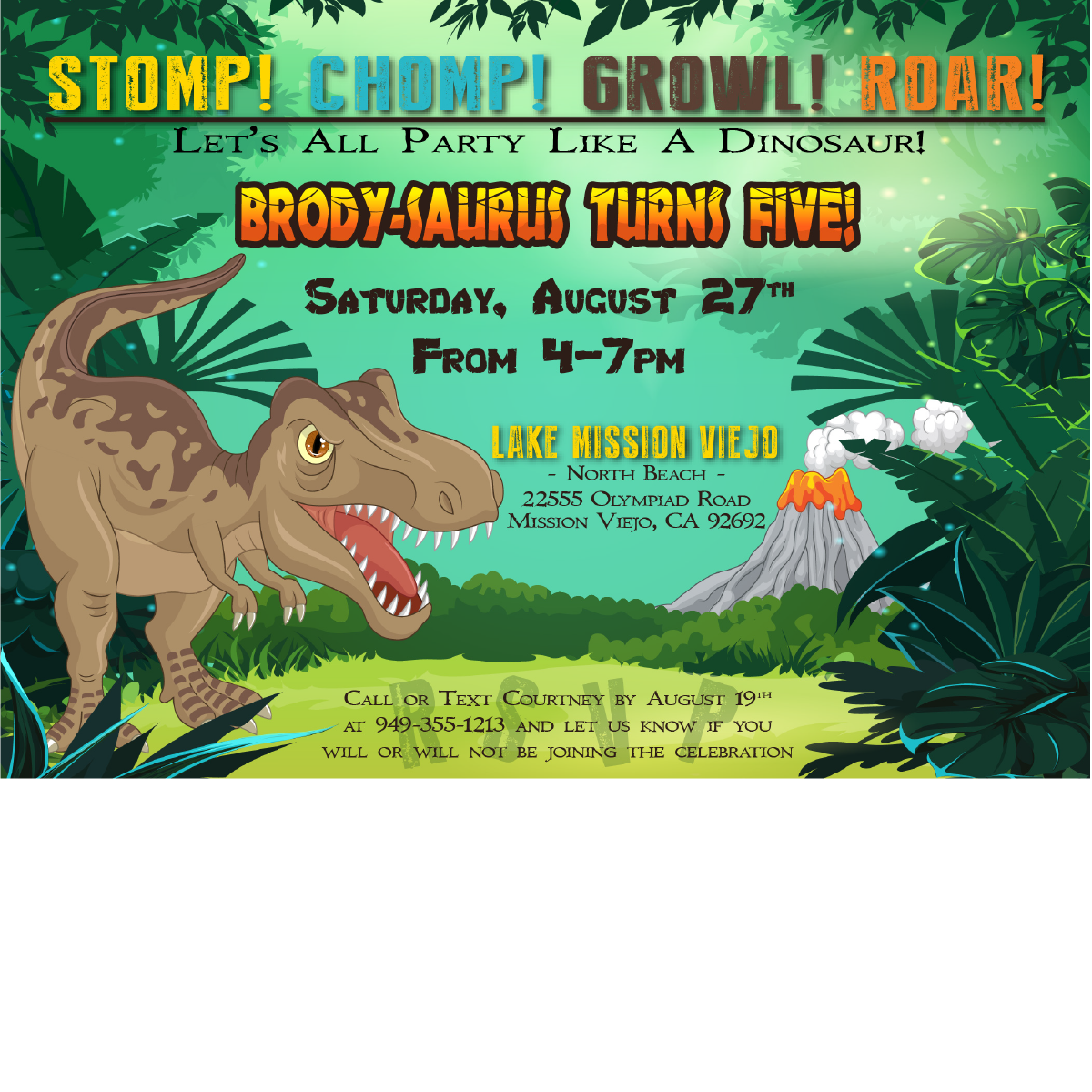 Dinosaur Birthday Invitations Blackline