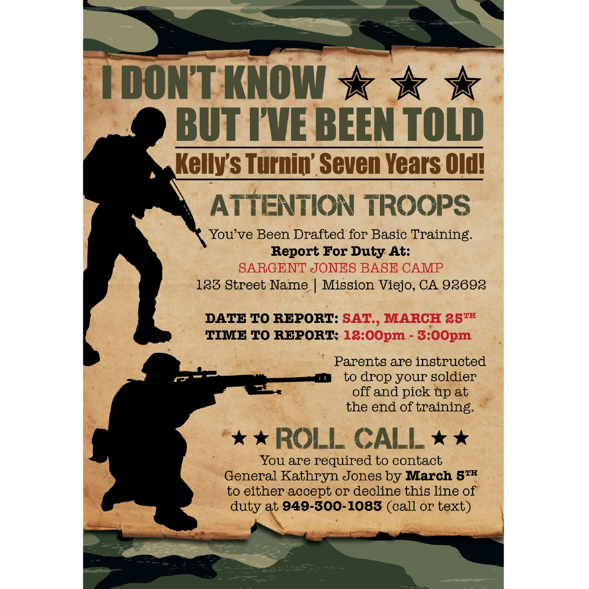 12 x Personalised Army Soldier Military Photo Birthday Party InvitationsH1145