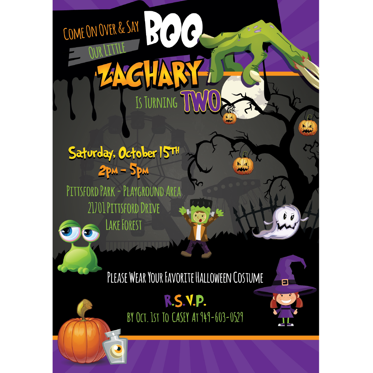 Halloween Carnival Birthday Invitations