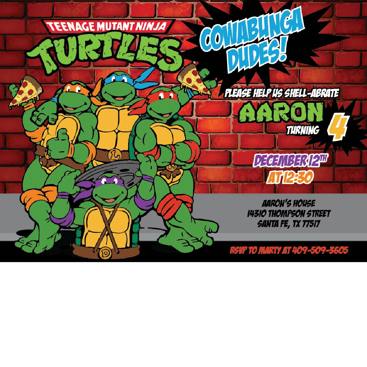 Ninja Turtle Birthday Invitations Blackline
