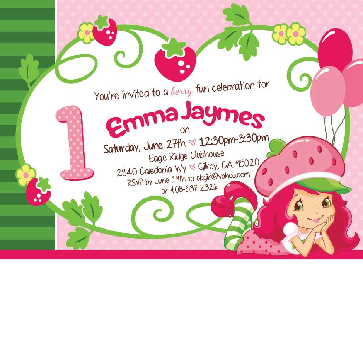 Strawberry Shortcake Birthday Invitations Blackline