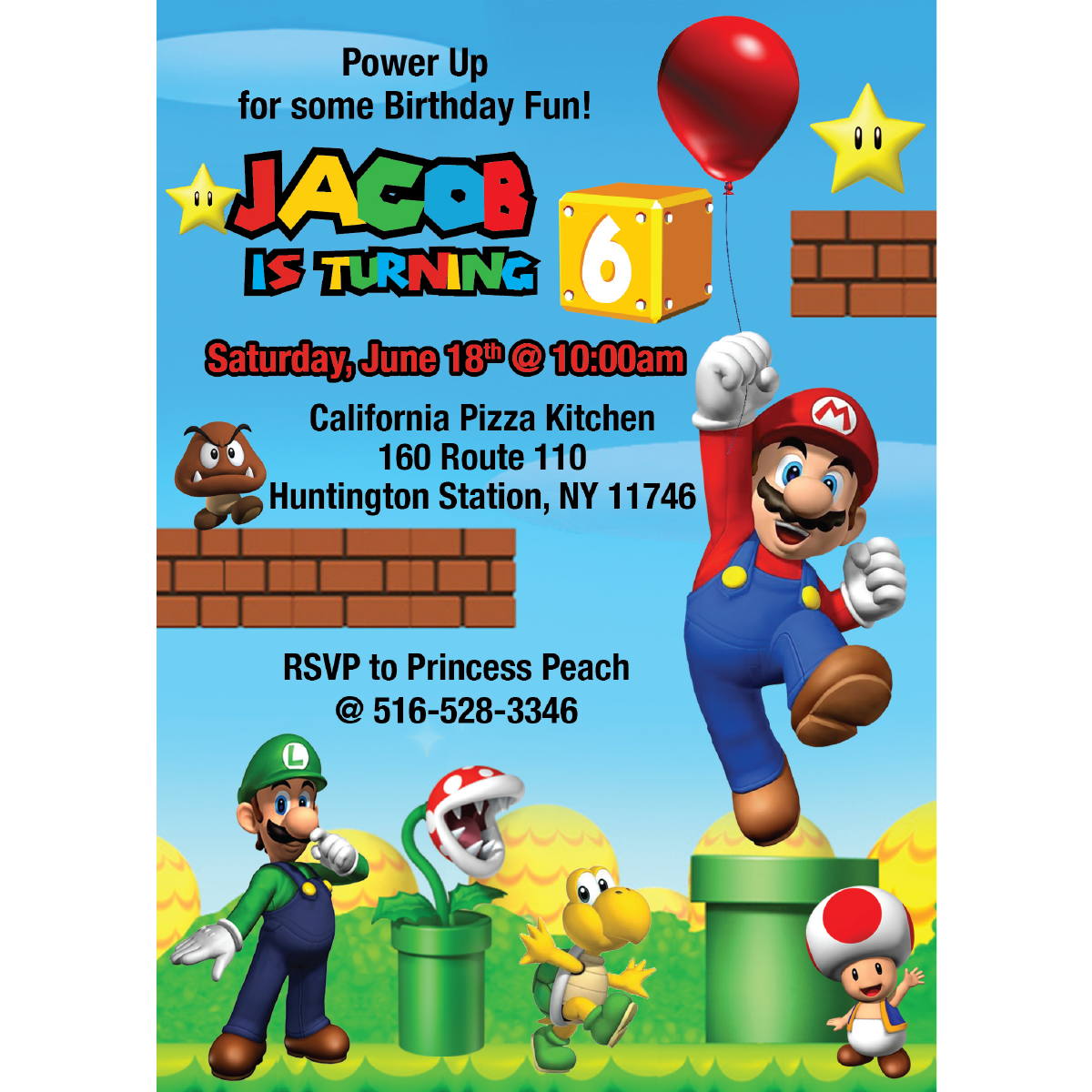 Super Mario Bros Birthday Invitation Blackline