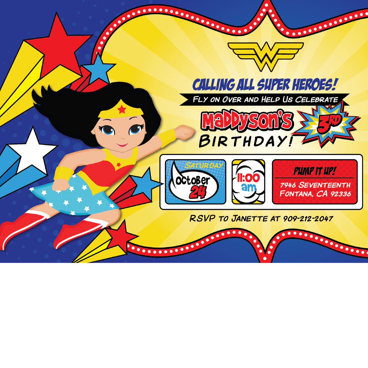 Wonder Woman Birthday Invitations